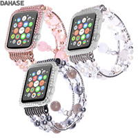 DAHASE Agate Bracelet For Apple Watch Band Series 1 2 3 Bling Diamond Pearl Cover Case