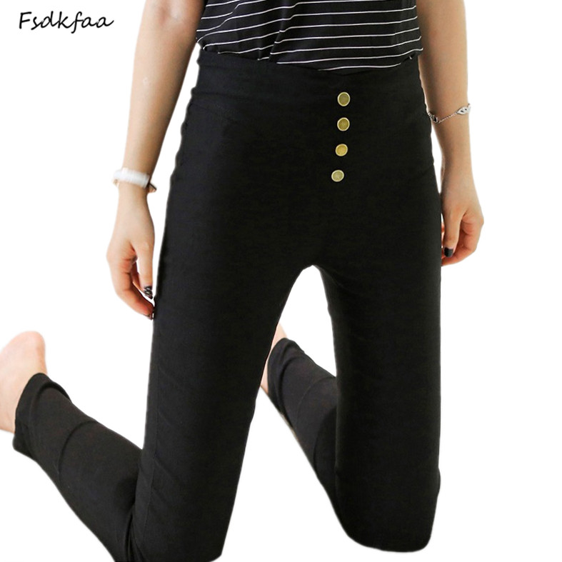 Women's Black Pant Pencil Trousers 2018 Spring Fall Button Pocke Pants Women Slim Ladies Jean Trousers Female High Waist   Legging