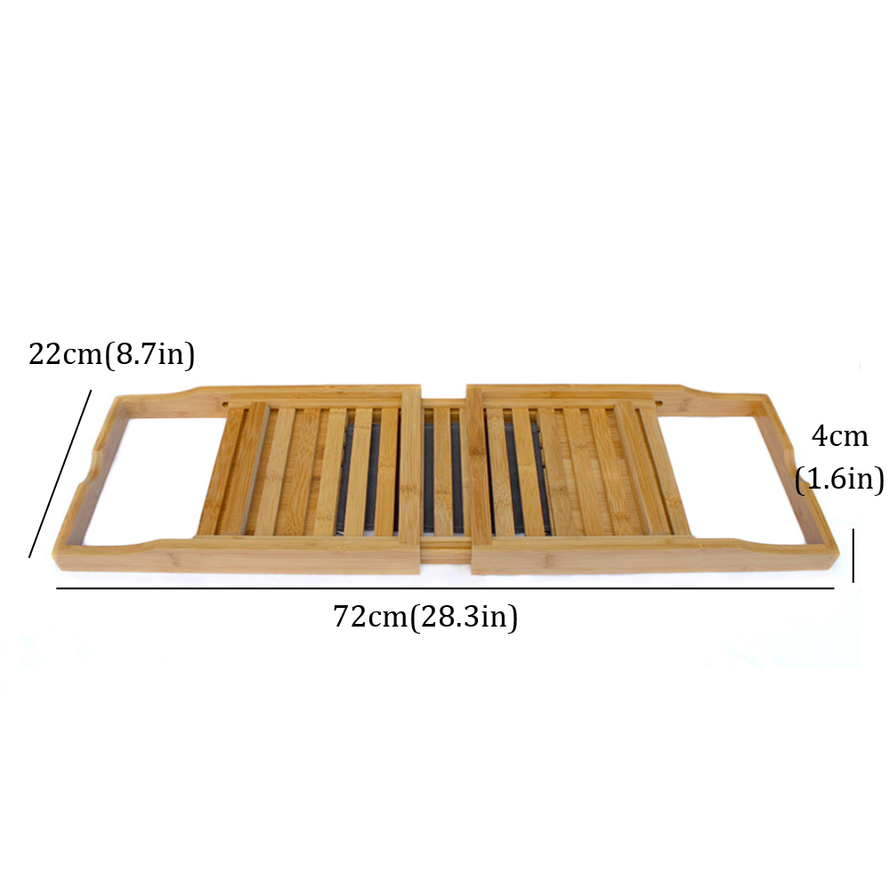 Joyoldelf Extendable Bamboo Bathtub Tray, Adjustable Shower Caddy ...