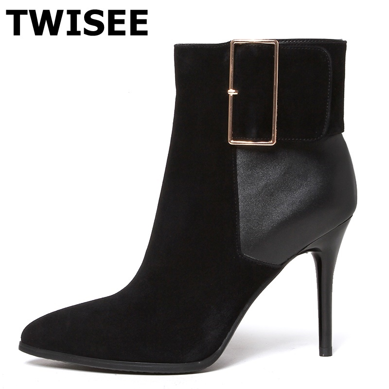 TWISEE Pointed Toe Ankle Boots High Quality Genuine Leather women Shoes Black Handmade Boots Autumn Buckle Boots комплект трусов 2 шт emporio armani emporio armani em598emuec06
