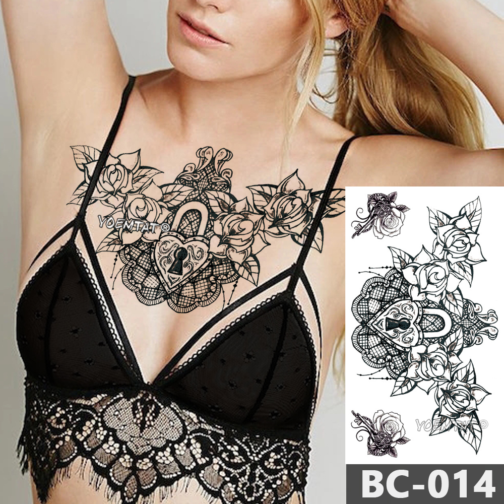 1 Sheet Chest Body Tattoo Temporary Waterproof Jewelry Heart-shaped lock rose lace pattern Decal Waist Art Sticker