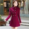Plus Size 2017 Outono Inverno Das Mulheres A Linha de Saia Casaco Trench Coats Double Breasted Fino Médio-Longo Cor Sólida Feminino jaquetas