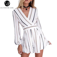 Summer Style V Neck Striped Women Jumpsuit Fashion Bow Waistline Ladies Romper Elegant Long Sleeve Overall