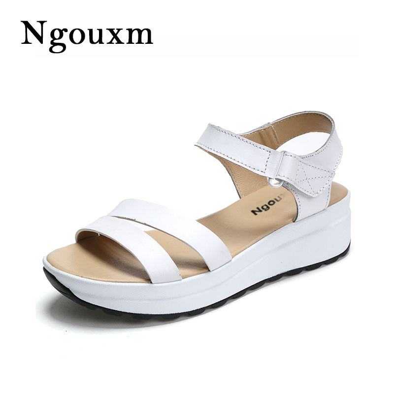 Ngouxm 2018 Summer women sandals platform flat genuine leather classic shoes woman white casual Wedges sandals shoes For women rasmeup genuine leather women s open toe platform sandals 2018 women casual buckle strap flat sandals woman white summer shoes
