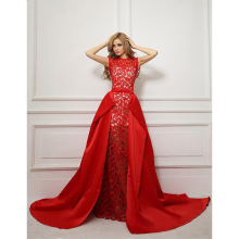 Cheap Long Evening Prom font b Dresses b font Floor Length Applique Removable Skirt Red Lace