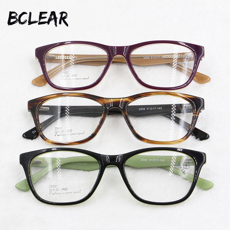 BCLEAR Most popular acetate optical frame with spring hinge vintage eyeglasses for men and women new brand fashion eyewear 2592