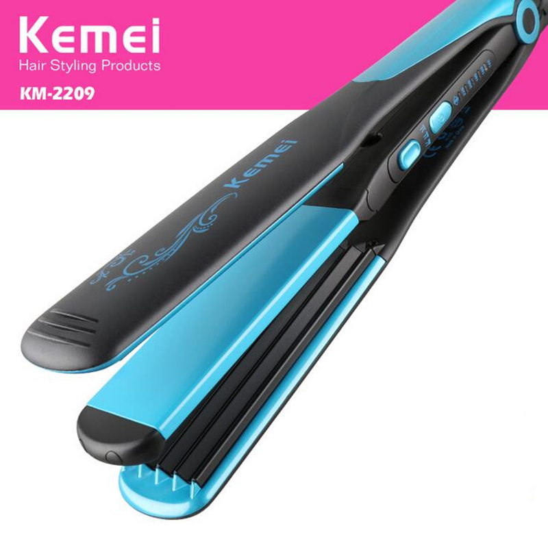 Kemei 2 in 1 Curling Iron Flat Straightening Curling Styling Tools Hair Straightener Hair Curler EU Plug KM-2209  3 in 1 professionals tourmaline ceramic hair straightener straightening corrugated iron hair curler styling tools 220v eu plug