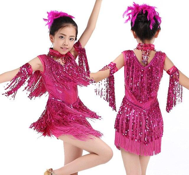 2017 moda niñas vestido de Danza Latina salsa danza traje chica sexy Tango  Vestidos niños Charleston 14069b94a0586