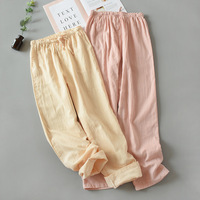 Pajama Pants Women New Pure Cotton Home Pants Leisure and Long Double Layer Gauze Living Pants Weared Outside Lounge Wear