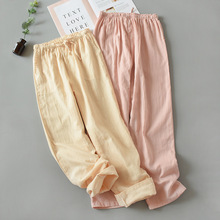 Pajama Pants Women New Pure Cotton Home Leisure and Long Double-Layer Gauze Living Weared Outside Lounge Wear