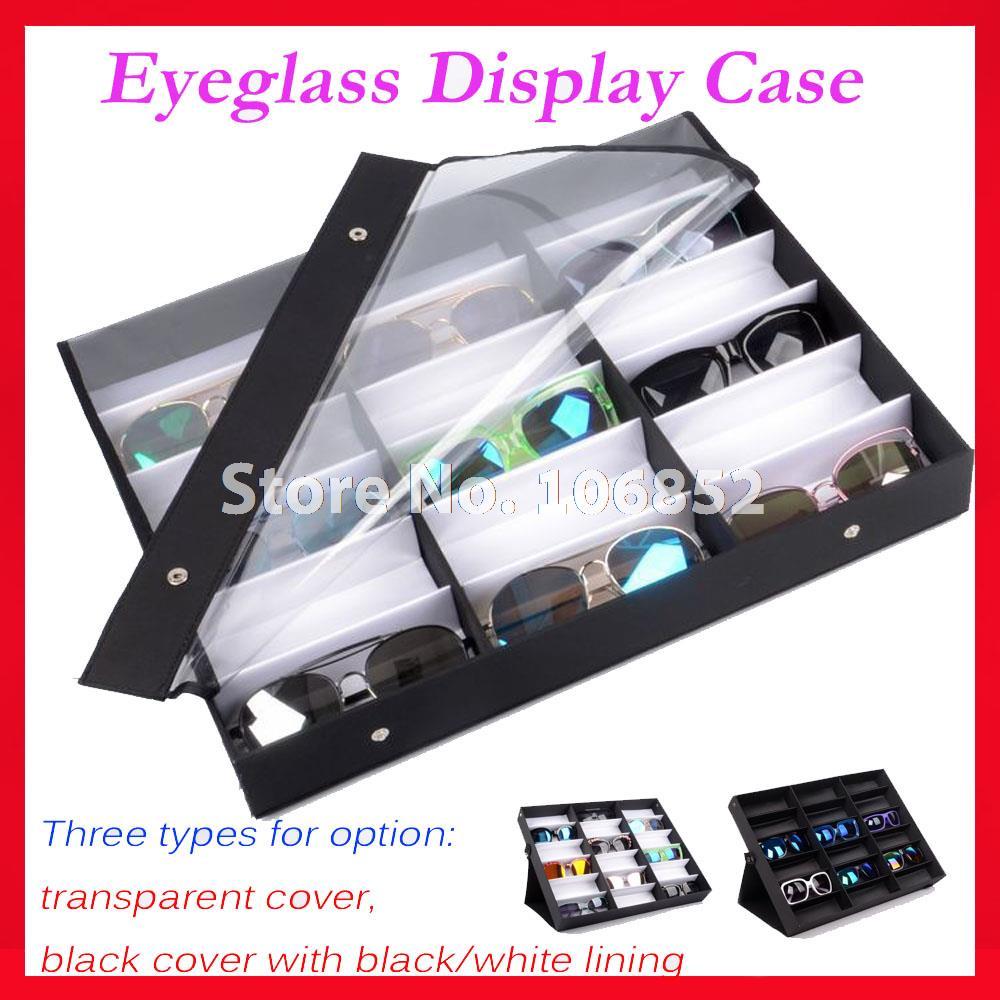 Détail 18A18B18BK d'affichage des lunettes de soleil cas de couverture effacer lunettes affichage boîte valise pour la tenue de 18 pcs de lunettes de soleil