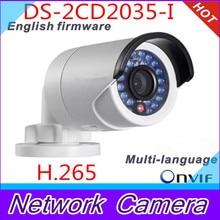 2014 Multi-language shipping Original gun waterproof security network cctv camera DS-2CD2035-I 3MP IR ip camera mini support POE