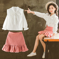 Girls Clothing Sets 2019 Spring New Tops Blouses Shirts + Skirts Kids Girls Clothes Outfits Suits For Girls Children Clothing 12
