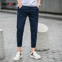 Jantour calças curtas masculinas, calças casuais masculinas de algodão slim fit chinos 27