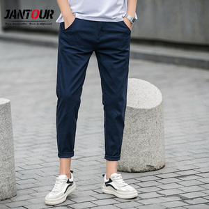 Image 1 - jantour Spring summer New Casual Pants Men Cotton Slim Fit Chinos Ankle Length Pants Fashion Trousers Male Brand Clothing 27