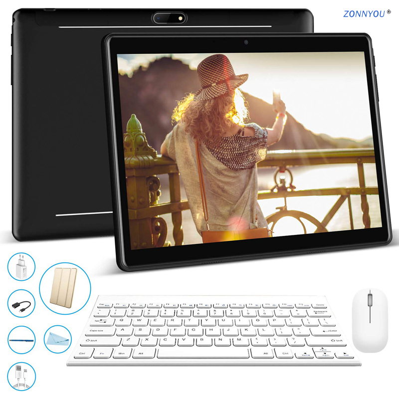 10/1 inch Tablet PC 2.5D Steel Screen Android 9.0 Google 3G Call Octa Core 4GB RAM 64GB ROM Wi Fi Bluetooth IPS+Set Meal