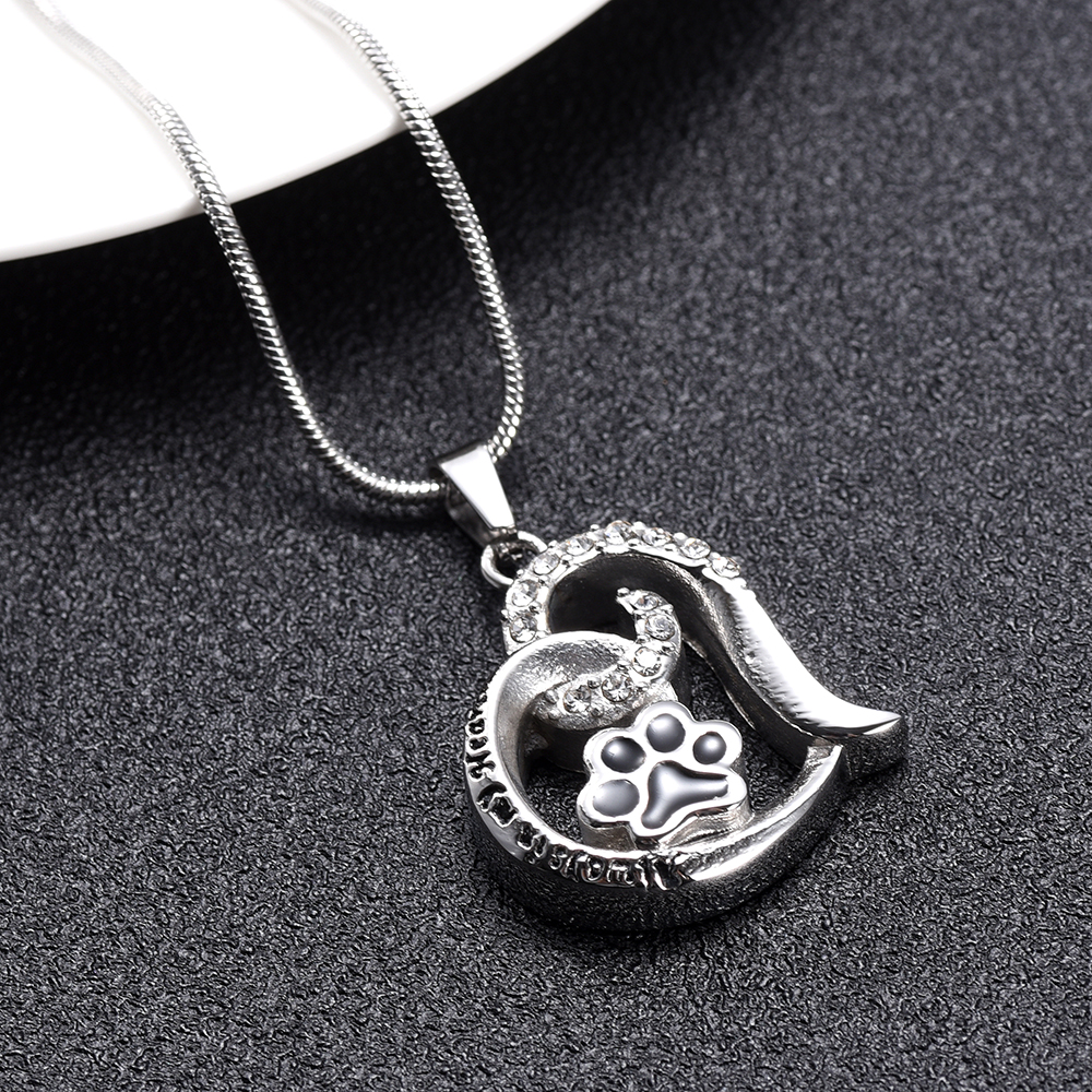 IJD10031 Stainless Steel Paw Print Inlay Crystal Heart Cremation Memorial Pendant for Ashes Urn Keepsake Souvenir Necklace in Chain Necklaces from Jewelry Accessories