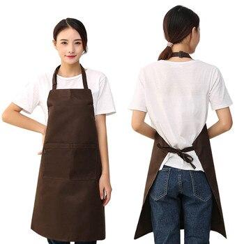 Women Apron MEN Pockets Kitchen Restaurant Cooking Shop Art Work SOLID Apron Korean Waiter Aprons F80 Фартук