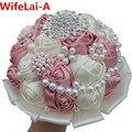 Улучшенный Розовый Шелк Вышитый Бисером Кристалл Свадебные Букеты Алмаз Холдинг Искусственные Цветы Невесты Свадебный Букет Индивидуальные