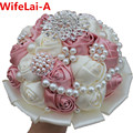 Superior Pink Silk Beaded Crystal Bridal Bouquets Diamond Holding Artificial Flowers Bridesmaid Wedding Bouquet Customized