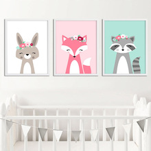 Woodland Animal Flower Wall Art Nursery Canvas Painting Nordic Kids Decoration Picture For Baby Bedroom Decor Unframed