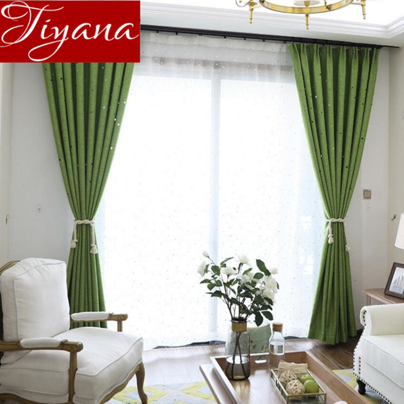 US $3.46 34% OFF|Green Curtains Hollow Stars Solid Window Bedroom Kitchen  Linen Curtain for Living Room Tulle White Sheer Fabrics Shade X370 #30-in  ...