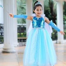 Halloween Girls Princess Elsa Anna Costumes Dress Sequin Tutu Up With Cape Coronation Day Outfit Cosplay 2-10 Years 2018