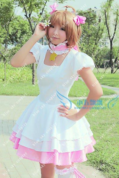 Card Captor Sakura white Cosplay Costume Custom any size