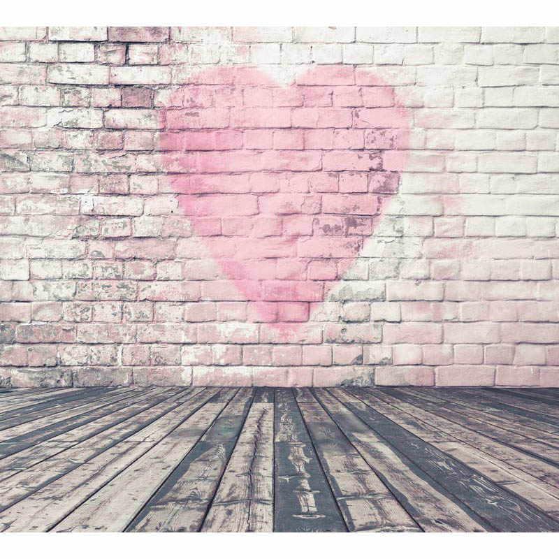 Senza soluzione di continuità Del Vinile Fotografia Sfondo Rosa cuore muri di Mattoni e pavimenti In Legno Fondali Fotografia per la Cerimonia Nuziale Del Partito F-1355