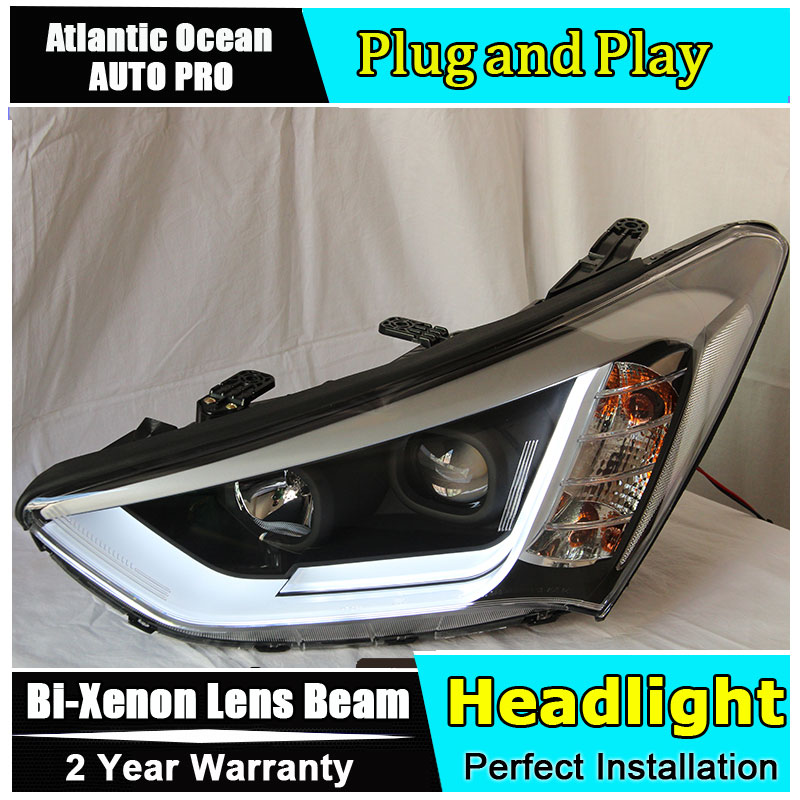 Auto.Pro Car Styling for New Santa Fe LED Headlight 2014 IX45 Headlights DRL Lens Double Beam HID KIT Xenon bi xenon lens hireno headlamp for hodna fit jazz 2014 2015 2016 headlight headlight assembly led drl angel lens double beam hid xenon 2pcs
