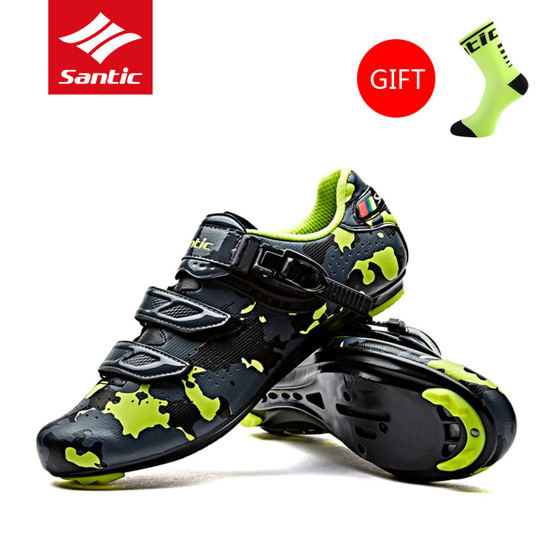2017 New Santic Breathable Mens Cycling Shoes PU MTB Road Bike Shoes Auto-Locking Pro Athletic Racing Bicycle Shoes 3 Color free shipping breathable athletic cycling shoes road bike bicycle shoes nylon tpu soles for road racing mtb eur35 39 us3 5 7
