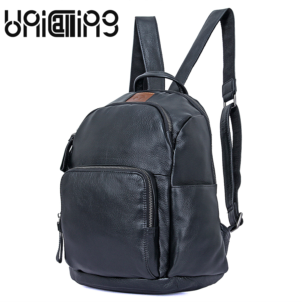 UniCalling New style Unisex leather backpack solid color headset jack backpack men All-match zipper cow leather backpack