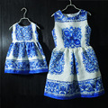 Marca olhar família roupas combinando estampas de Uma forma Sem Mangas mãe e filha vestidos de festa vestidos de vestido das mulheres do estilo chinês