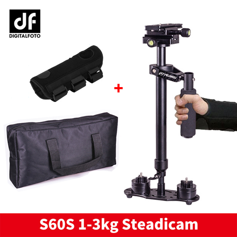 DIGITALFOTO S60S DSLR video portatile fotocamera stabilizzatore steadicam S60 4 pesi steadycam con la mano tutore protettivo Mic