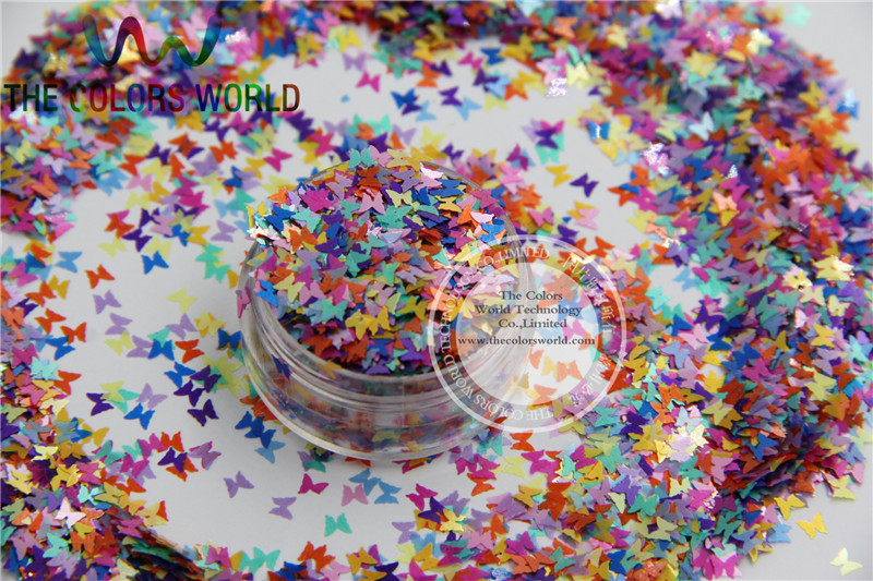 FG3-46 Mix 3MM Solvent Resistant Pearlescent  BUTTERFLY shape Glitter for Nail Polish Acrylic, polish  and DIY supplies1pack=50g dn2 39 mix 2 3mm solvent resistant neon diamond shape glitter for nail polish acrylic polish and diy supplies1pack 50g