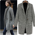 2016 Senhoras Inverno Quente Lapela Lã Trincheira Parka Casaco Longo Outwear Jacket