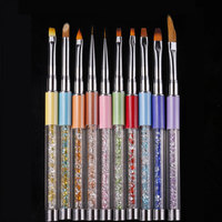 10 יח'\סט ציור נייל ארט מברשת ליינר ציור עט מברשת ג 'ל UV שיפוע צורה שונה ריינסטון ידית כלי מניקור