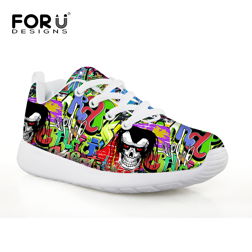 FORUDESIGNS Graffiti Skull Table Tennis Shoes Unisex Sneakers Trainers Sports Shoes for Kids Boy Breathable Sneakers for School
