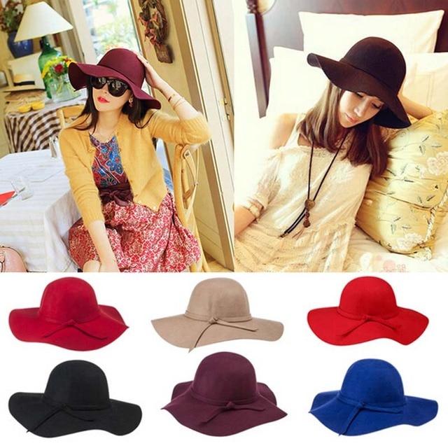 Primavera otoño invierno mujer sombrero tapa sombrero fedora gorro de lana  europa inglaterra Vintage corea moda 66af54b32cc
