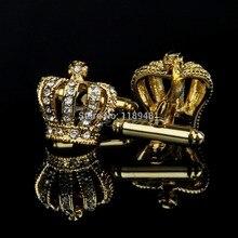 Stainless Steel Vintage Men's Wedding Gift Golden Crown Cufflinks Cuff Links
