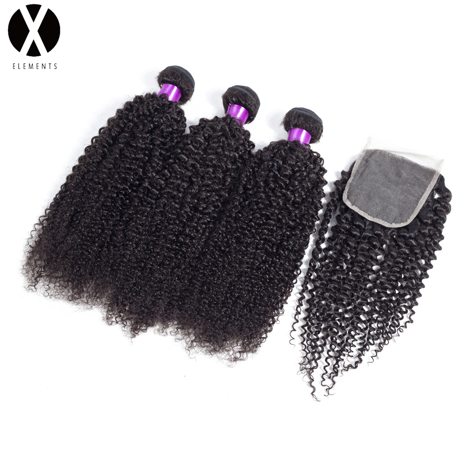 X-Exements Hair Bundles With Closure 3 Bundles Kinky Curly Human Non-Remy Hair Weaves Peruvian Natural Color Hair Extensions