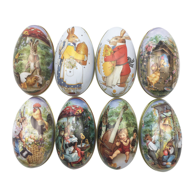 4pcs Tilfeldig Mix Påske Bunny Chick Printing Alloy Metal Trinket Tinn Påske Egg Shaped Candy Box Tappveske Party Decoration