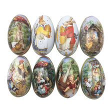 4pcs Random Mix Easter Bunny Chick Printing Alloy Metal Trinket Tin Easter Eggs Shaped Candy Box