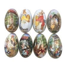 4pcs Random Mix Easter Bunny Chick Printing Alloy Metal Trinket Tin Easter Eggs