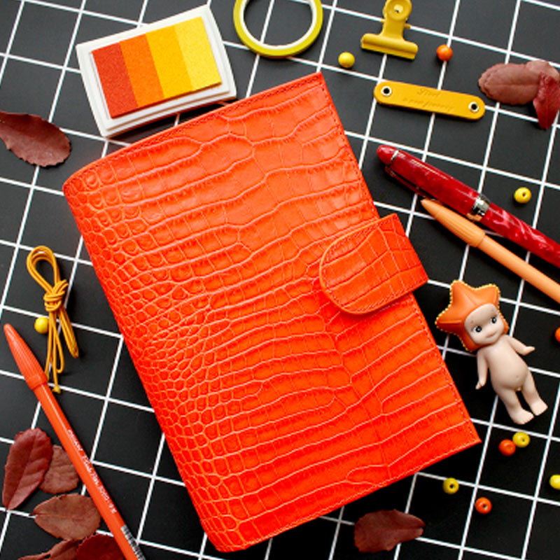 Carnet de reliure à anneaux en cuir véritable A6 Agenda personnel fait à la main organisateur Journal en cuir de vachette carnet de croquis planificateur poche d'argent
