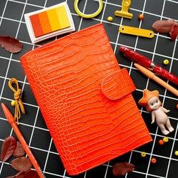 Carpeta de anillas de cuero genuino A6, hecho a mano para Agenda organizador Personal, diario de cuero de vaca, diario, planificador de bocetos, bolsillo para dinero