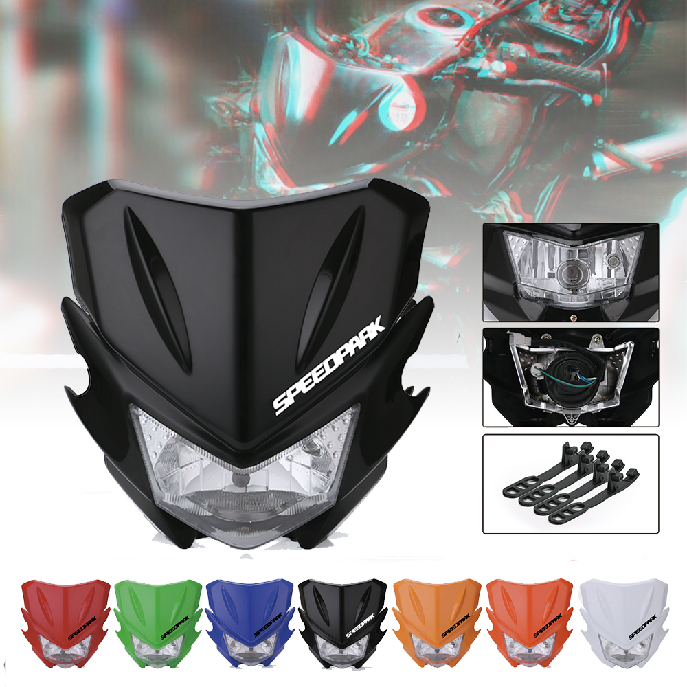 SPEEDPARK Universal Motorcycle Headlight Headlamp Fairing For KAWASAKI YAMAHA SUZUKI HONDA KTM Dirt Bike image