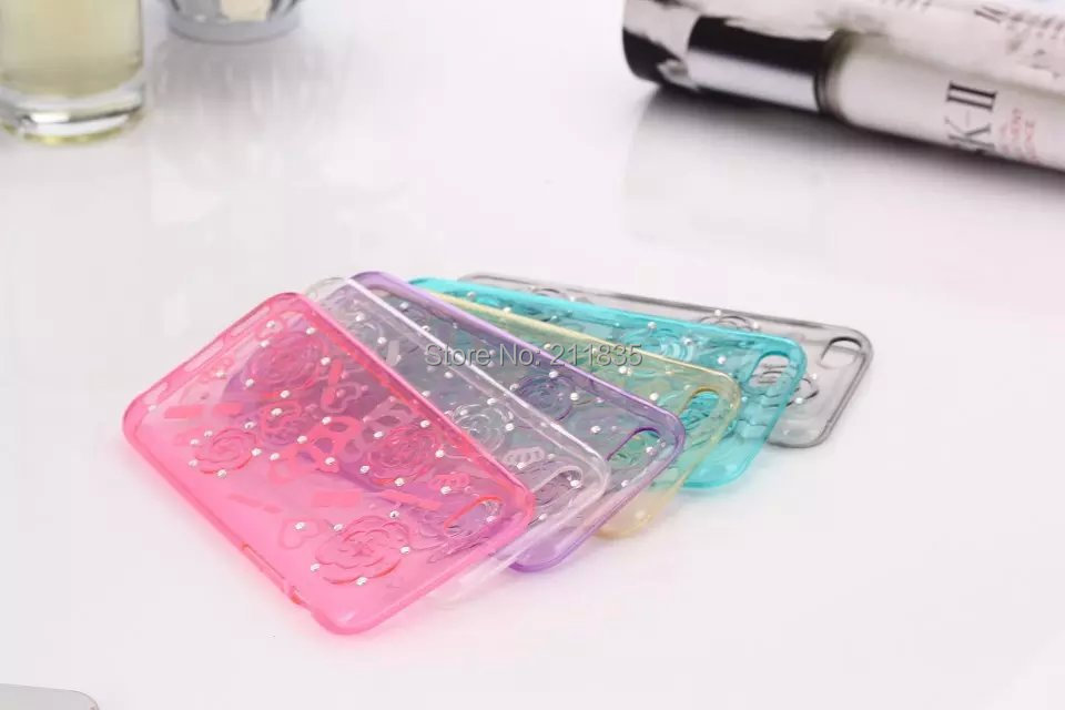 Amazing Fashion Handmade Bling Crystal Diamond Crown Flower Pattern Design TPU Soft Case Cover For iPhone 5 5S Free Shipping