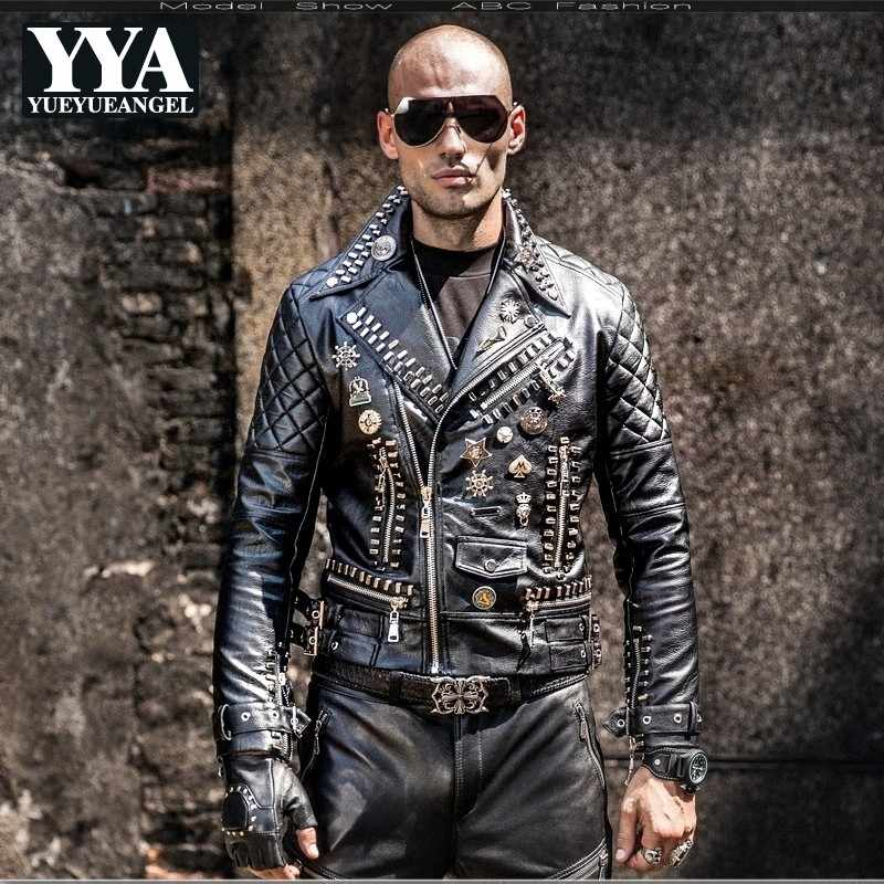 Mens Gothic Trench Coat Leather Jackets Outwear Motorcycle Lapel Slim Handsome
