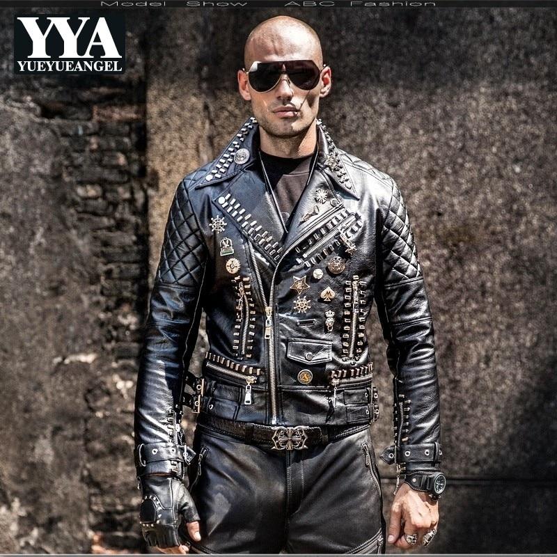 2019 New Motorcycle PU Faux Leather Jackets Men Hip Hop Rivet Punk Style Lapel Fashion Zipper Coats Korean Slim Male Overcoats
